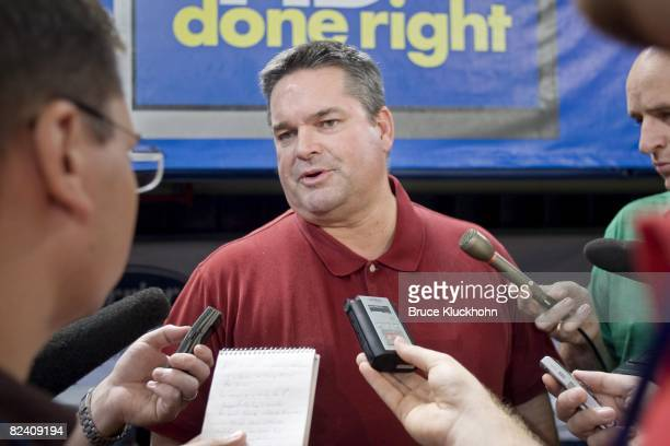 General Manager Bill Smith of the Minnesota Twins talks to the press prior to the game against the Cleveland Indians at the Humphrey Metrodome in...