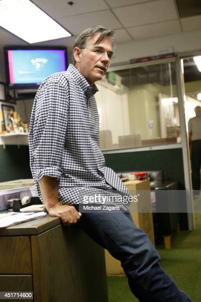 General Manager Billy Beane of the Oakland Athletics stands in the clubhouse prior to the game against the New York Yankees at Oco Coliseum on June...