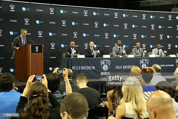 General Manager Billy King Head Coach Jason Kidd Kevin Garnett Paul Pierce and Jason Terry of the Brooklyn Nets are introduced at a press conference...