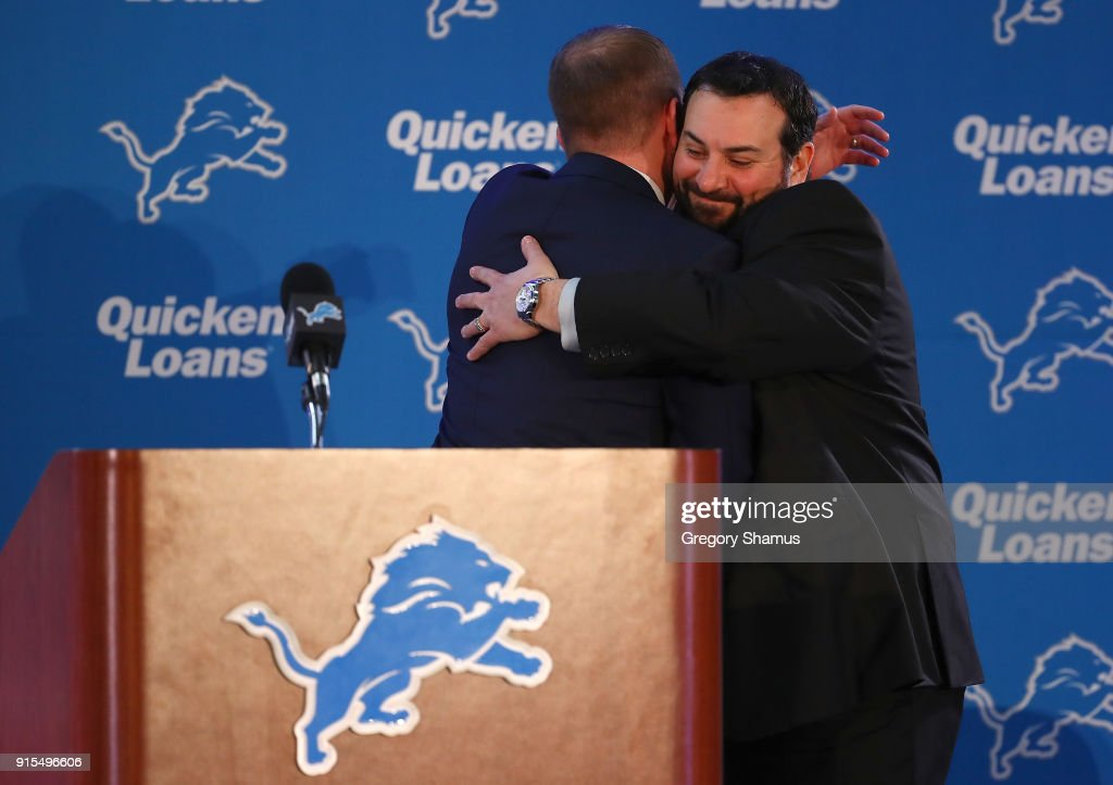 General Manager Bob Quinn of the Detroit Lions hugs new head coach Matt Patricia after introducing him at the Detroit Lions Practice Facility on February 7, 2018 in Allen Park, Michigan.
