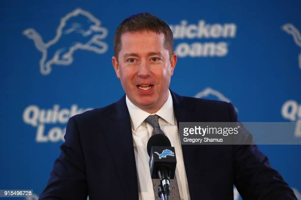 General Manager Bob Quinn of the Detroit Lions speaks at a press conference after introducing Matt Patricia as the Lions new head coach at the...