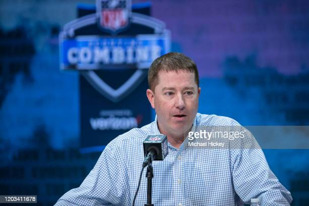 General manager Bob Quinn of the Detroit Lions speaks to the media at the Indiana Convention Center on February 25 2020 in Indianapolis Indiana Bob...