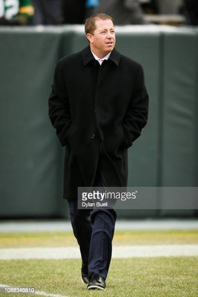 General manager Bob Quinn of the Detroit Lions walks across the field before the game against the Green Bay Packers at Lambeau Field on December 30...