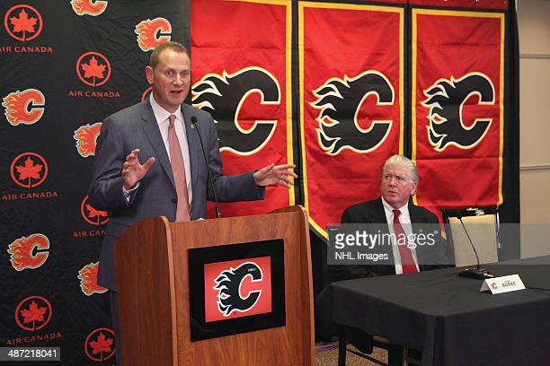 General Manager Brad Treliving of the Calgary Flames discusses his plans for the team's future at Scotiabank Saddledome on April 28 2014 in Calgary...