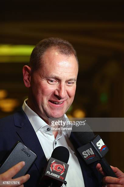 General Manager Brad Treliving of the Calgary Flames meets with the media following the NHL General managers Meetings at the Bellagio Las Vegas on...