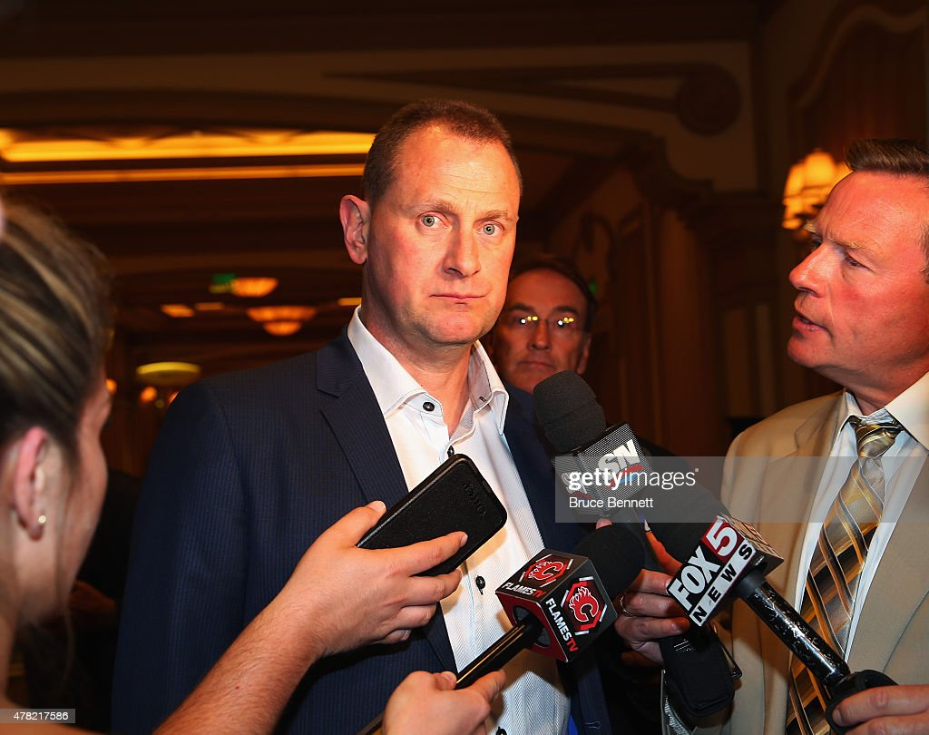 General Manager Brad Treliving of the Calgary Flames of the meets with the media following the NHL General managers Meetings at the Bellagio Las Vegas on June 23, 2015 in Las Vegas, Nevada.