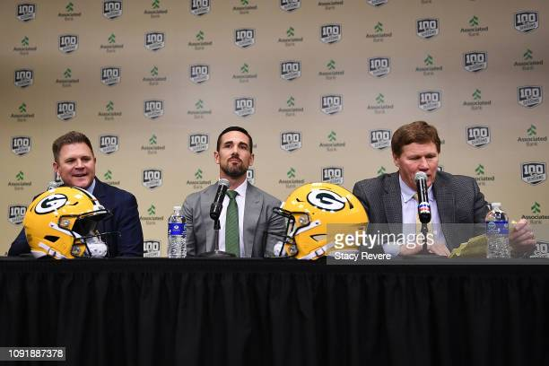 General manager Brian Gutekunst Head coach Matt LaFleur and President and CEO Mark Murphy of the Green Bay Packers attend a conference to announce...