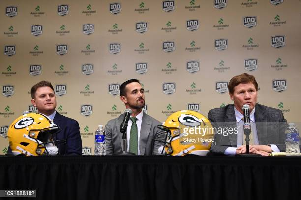 General manager Brian Gutekunst head coach Matt LaFleur and President and CEO Mark Murphy of the Green Bay Packers introduce Matt LaFleur as head...