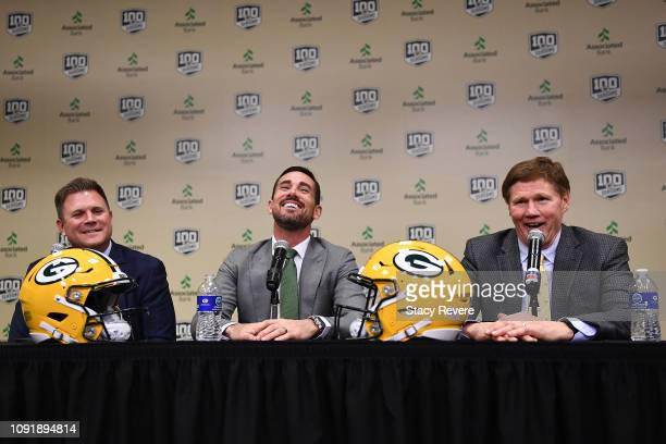 General manager Brian Gutekunst head coach Matt LaFleur and President and CEO Mark Murphy of the Green Bay Packers speak to the media during a press...