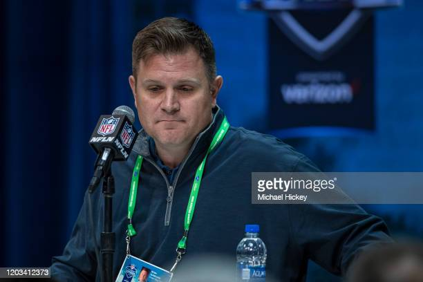 General manager Brian Gutekunst of the Green Bay Packers speaks to the media at the Indiana Convention Center on February 25 2020 in Indianapolis...