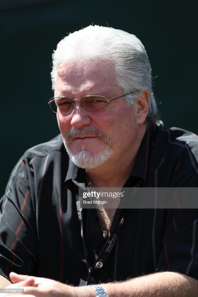 General Manager Brian Sabean of the San Francisco Giants watches batting practice before the game against the Oakland Athletics at the Oakland-Alameda County Coliseum on May 22, 2010 in Oakland, California.