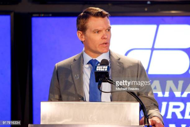 General manager Chris Ballard addresses the media during the press conference introducing head coach Frank Reich at Lucas Oil Stadium on February 13...