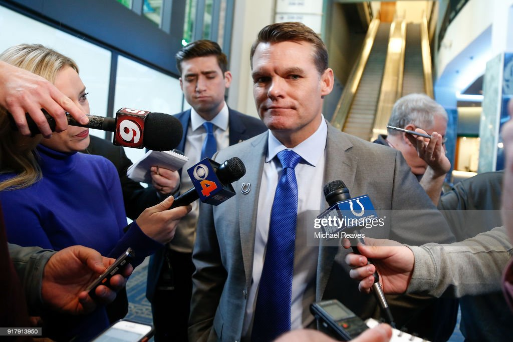 General manager Chris Ballard of the Indianapolis Colts addresses the media following a press conference introducing head coach Frank Reich at Lucas Oil Stadium on February 13, 2018 in Indianapolis, Indiana.