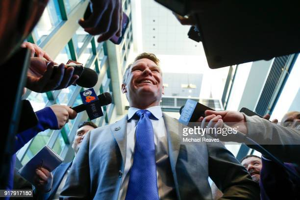 General manager Chris Ballard of the Indianapolis Colts addresses the media following a press conference introducing head coach Frank Reich at Lucas...