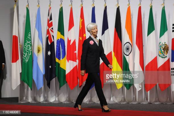 IMF General Manager Christine Lagarde arrives for the family photo at the G20 Osaka Summit in Osaka on June 28 2019