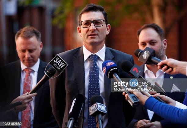 General Manager Clubs and Broadcasting Travis Auld speaks with media during the AFL China Match Announcement at the Facing Heaven Archway on October...