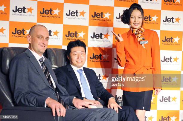 General Manager Commercial Jetstar Airways Pty Limited Bruce Buchanan Regional General Manager Jetstar Airways Masaru Kataoka and actress Becky...