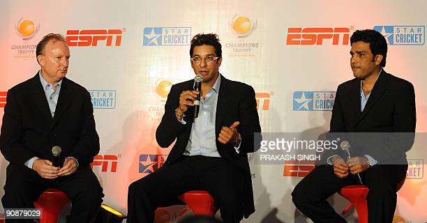 General Manager Commercial of International Cricket Council Campbell Jamieson and ESPN Star sports Commentator Sanjay Manjrekar listen to former...
