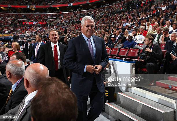 General Manager Dale Tallon of the Florida Panthers walks on the draft floor during Round One of the 2015 NHL Draft at BB&T Center on June 26, 2015...