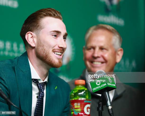 General Manager Danny Ainge and Gordon Hayward of the Boston Celtics laugh during the press conference at TD Garden on September 1, 2017 in Boston,...