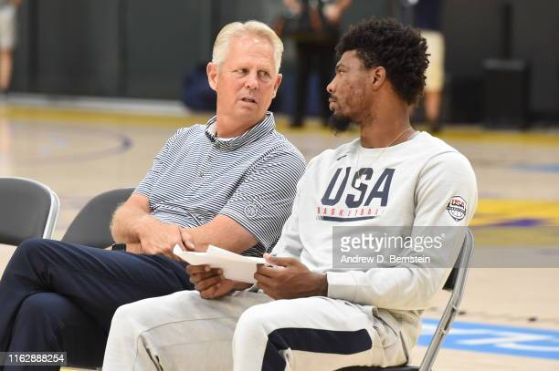 General Manager Danny Ainge of Boston Celtics talks with Marcus Smart, and Jayson Tatum of Team USA during USA Basketball Men's National Team...