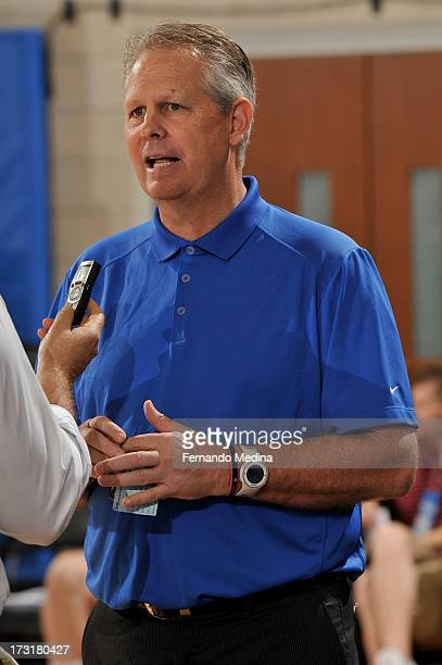 General Manager Danny Ainge of the Boston Celtics speaks to the media prior to the game against the Indiana Pacers during the 2013 Southwest Airlines...