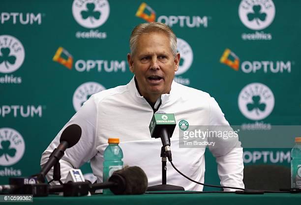 General manager Danny Ainge of the Boston Celtics speaks with the media during Boston Celtics Media Day on September 26, 2016 in Waltham,...