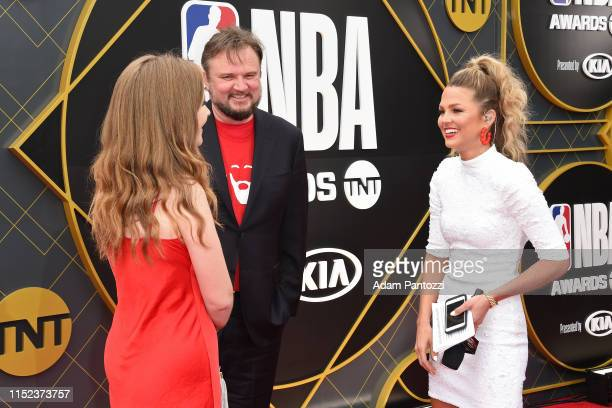 General Manager Daryl Morey of the Houston Rockets speaks to Allie LaForce before the 2019 NBA Awards Show on June 24 2019 at Barker Hangar in Santa...