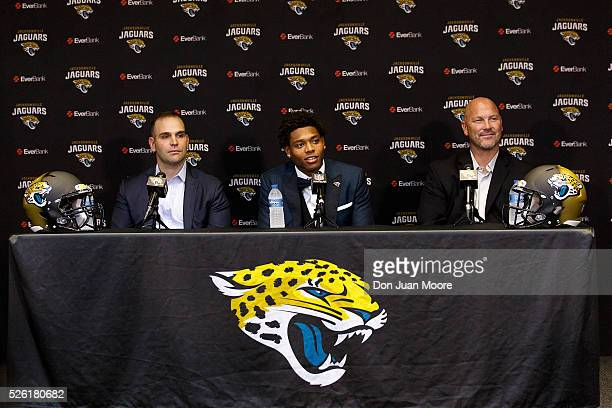 General Manager Dave Caldwell Cornerback Jalen Ramsey and Head Coach Gus Bradley of the Jacksonville Jaguars during a press conference at EverBank...