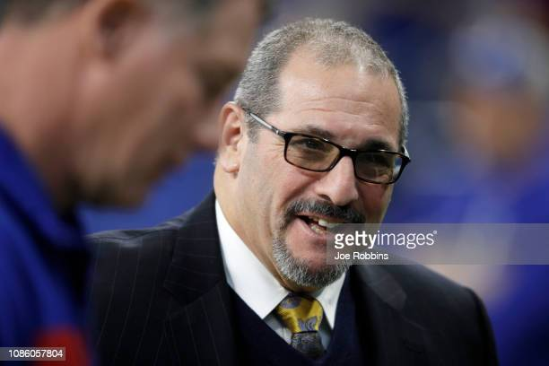 General Manager Dave Gettleman of the New York Giants during the pregame against the Indianapolis Colts at Lucas Oil Stadium on December 23 2018 in...