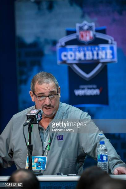 General manager Dave Gettleman of the New York Giants speaks to the media at the Indiana Convention Center on February 25 2020 in Indianapolis...