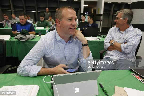 General Manager David Forst of the Oakland Athletics sits in the Athletics Draft Room on the opening day of the 2018 MLB Draft at the Oakland Alameda...