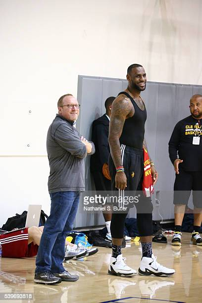 General Manager David Griffin chats with LeBron James of the Cleveland Cavaliers during practice and media availability as part of the 2016 NBA...
