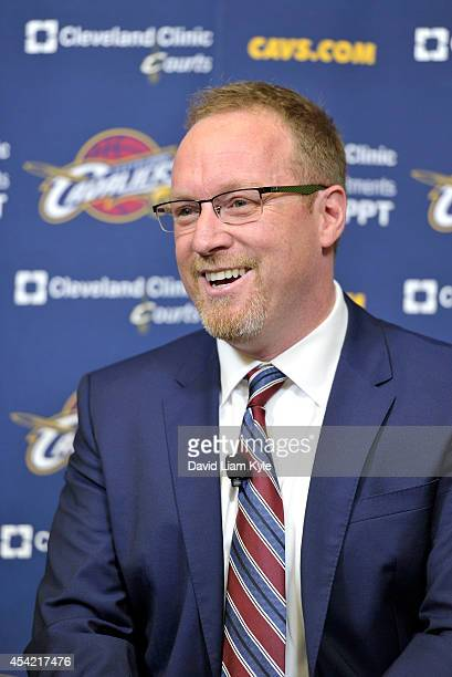 General Manager David Griffin of the Cleveland Cavaliers introduces Kevin Love to the media at The Cleveland Clinic Courts on August 26 2014 in...