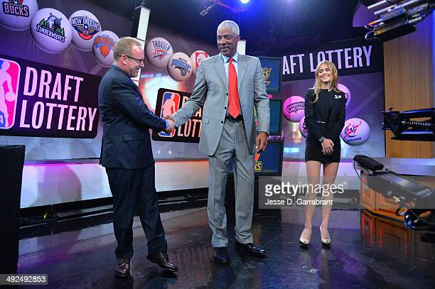 General Manager David Griffin of the Cleveland Cavaliers NBA Legend Julius Erving and Mallory Edens of the Milwaukee Bucks celebrates winning the top...