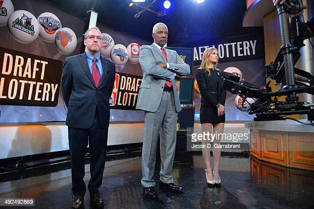 General Manager David Griffin of the Cleveland Cavaliers NBA Legend Julius Erving and Mallory Edens of the Milwaukee Bucks awaits the order during...