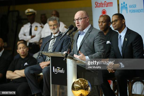 General Manager David Griffin of the Cleveland Cavaliers speaks at the 2017 NBA Finals Cares Legacy Project as part of the 2017 NBA Finals on June 8...