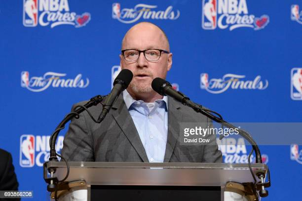 General Manager David Griffin of the Cleveland Cavaliers speaks to the guests at the 2017 NBA Finals Cares Legacy Project as part of the 2017 NBA...