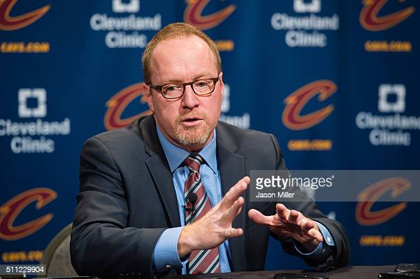 General Manager David Griffin of the Cleveland Cavaliers talks during a press conference prior to the game against the Chicago Bulls at Quicken Loans...