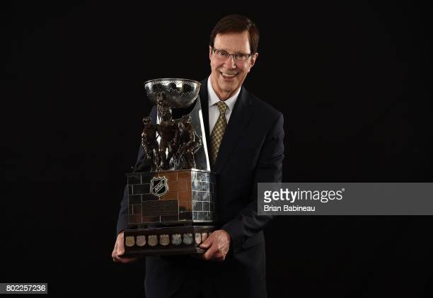 General manager David Poile of the Nashville Predators poses for a portrait with the NHL General Manager of the Year Award at the 2017 NHL Awards at...