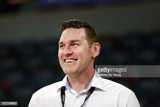 General Manager Dillon Boucher of the Breakers looks on prior to the round six NBL match between the New Zealand Breakers and the Cairns Taipans at...