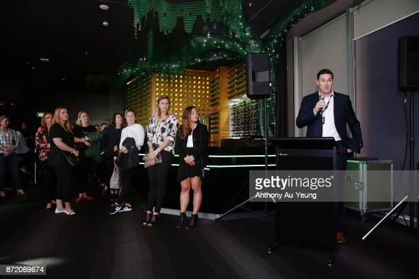 General Manager Dillon Boucher of the Breakers speaks to guests during a special pregame function prior to the round six NBL match between the New...