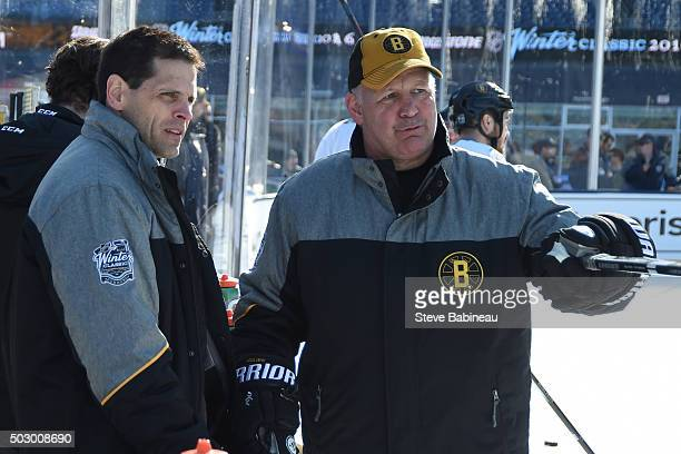 General Manager Don Sweeney and Head Coach Claude Julien of the Boston Bruins during practice on December 31 2015 during 2016 Bridgestone NHL Winter...