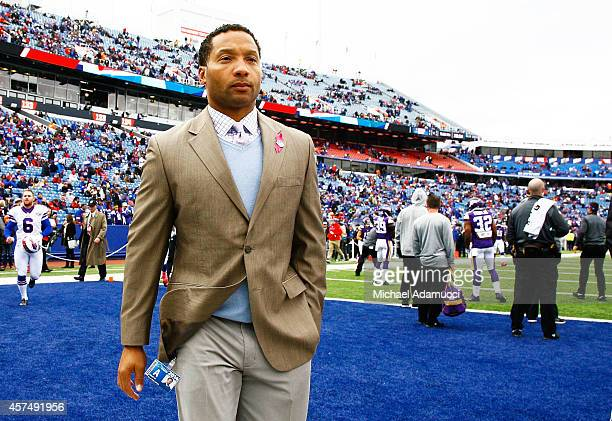 General manager Doug Whaley of the Buffalo Bills stands on the sidelines before the game between the Buffalo Bills and the Minnesota Vikings at Ralph...