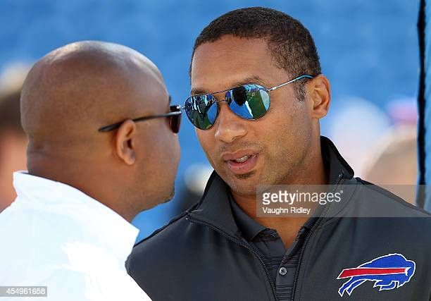 General Manager Doug Whaley of the Buffalo Bills talks on the sidelines prior to a preseason game against the Detroit Lions at Ralph Wilson Stadium...