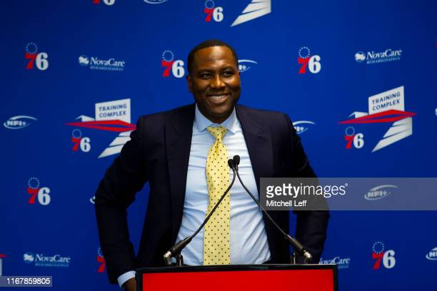 General Manager Elton Brand of the Philadelphia 76ers speaks at the podium prior to the team unveiling a sculpture to honor Charles Barkley at their...