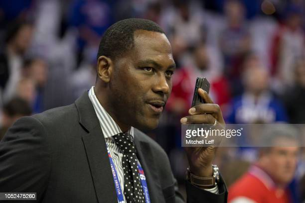 General Manager Elton Brand of the Philadelphia 76ers talks on the phone prior to the game against the Chicago Bulls at Wells Fargo Center on October...