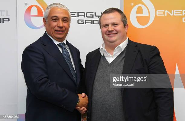 General Manager Energy T.I. Group Roberto Giuli and Parma FC President Tommaso Ghirardi pose for a photo during a press conference to announce their...