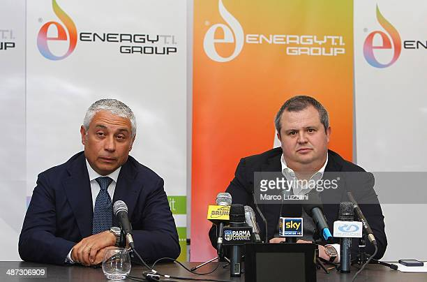 General Manager Energy T.I. Group Roberto Giuli and Parma FC President Tommaso Ghirardi attend a press conference to announce their partnership, as...