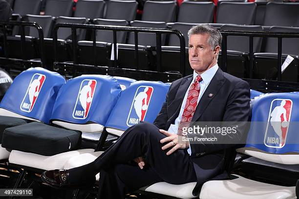 General Manager for the Portland Trail Blazers Neil Olshey looks on before the game against the San Antonio Spurs on November 11 2015 at the Moda...
